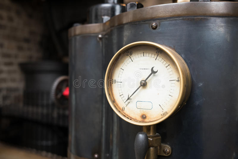 Close up of an industrial pressure gauge. royalty free stock photos