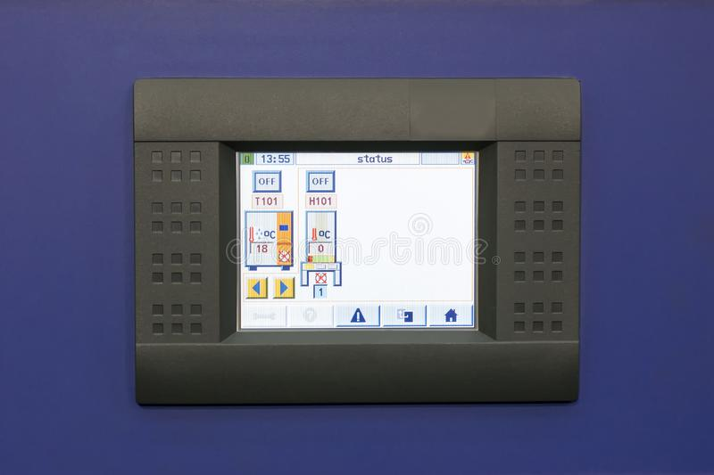 Close up industrial touch screen monitor or display for machine operate of industrial in work shop stock images