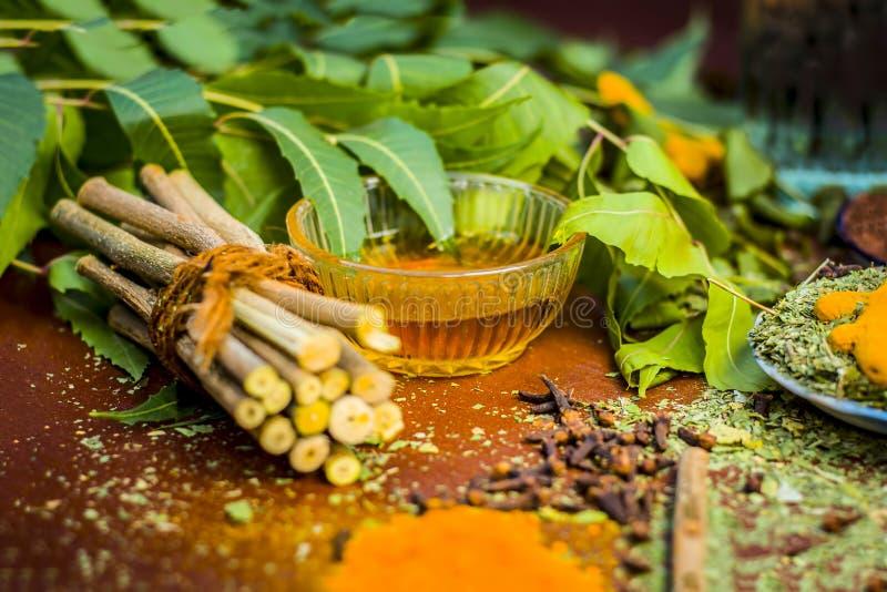Close up of ingredients of ayurvedic treatment i.e neem,neem leaves,neem powder,bark,clove,turmeric,water. stock photography