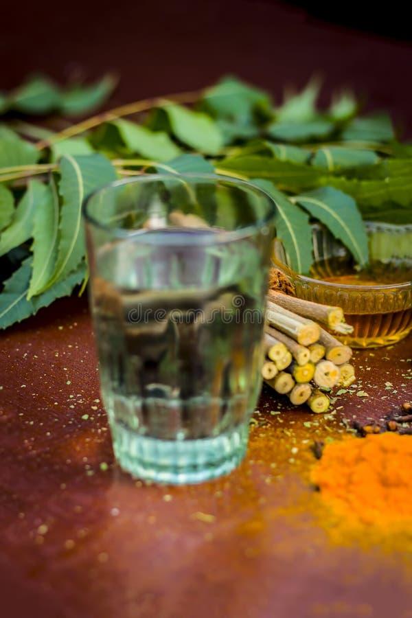 Close up of ingredients of ayurvedic treatment i.e neem,neem leaves,neem powder,bark,clove,turmeric,water. stock images