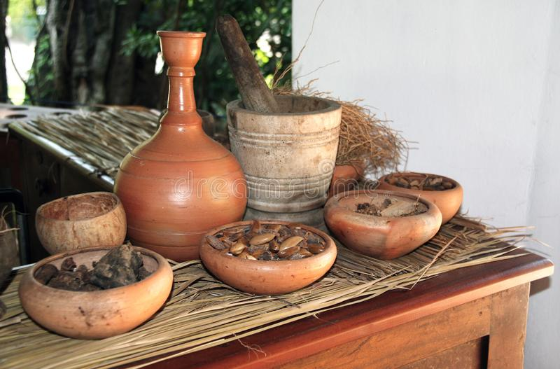 Ingredients of ayurvedic treatment, Sri Lanka stock image