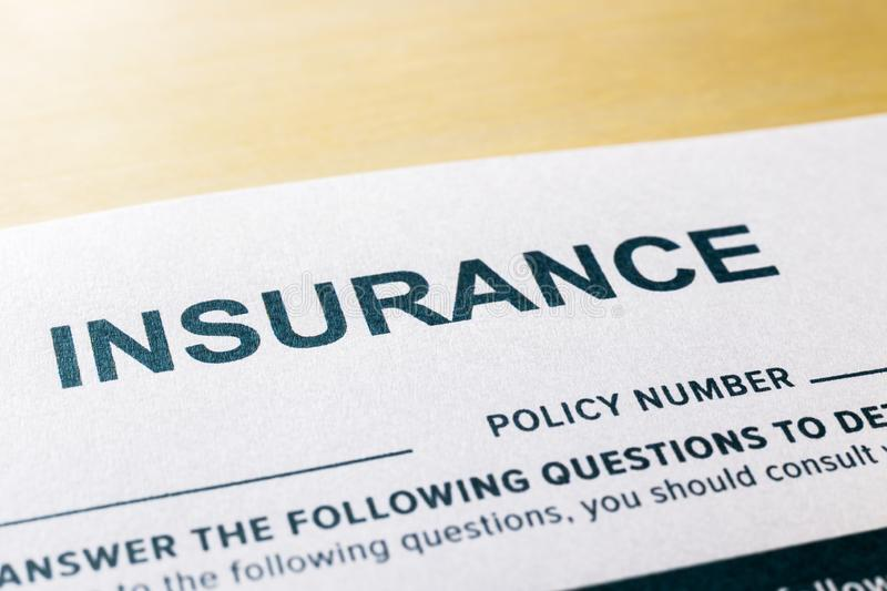 Close up INSURNCE questionnaire and application form royalty free stock photos