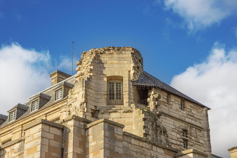 Close up of the integration of recent constructions in the rampart. Of the Chateau de Vincennes, seen from the street stock photos
