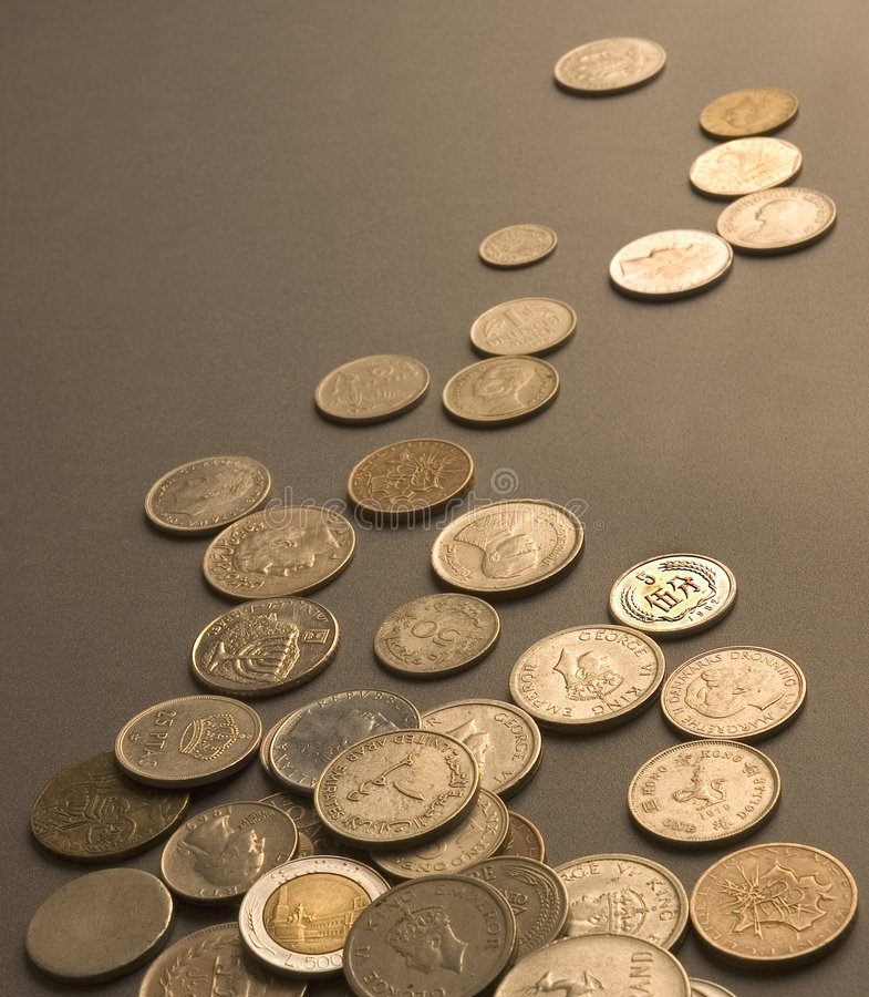 Close up of International Coins. Studio shot royalty free stock image