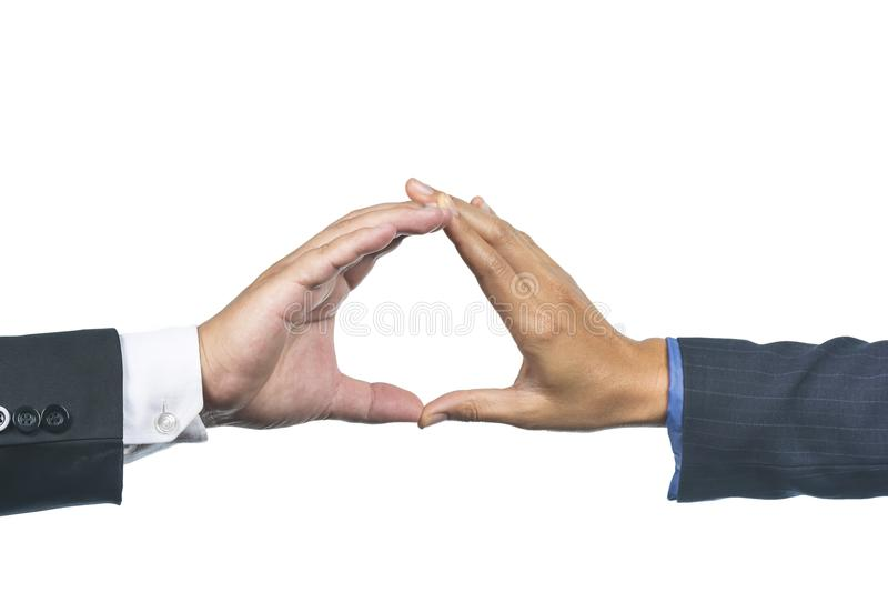 Close-up Interracial Hands with Touching Fingers. Close-up Interracial hands with touching fingers on Isolate White Background stock photo