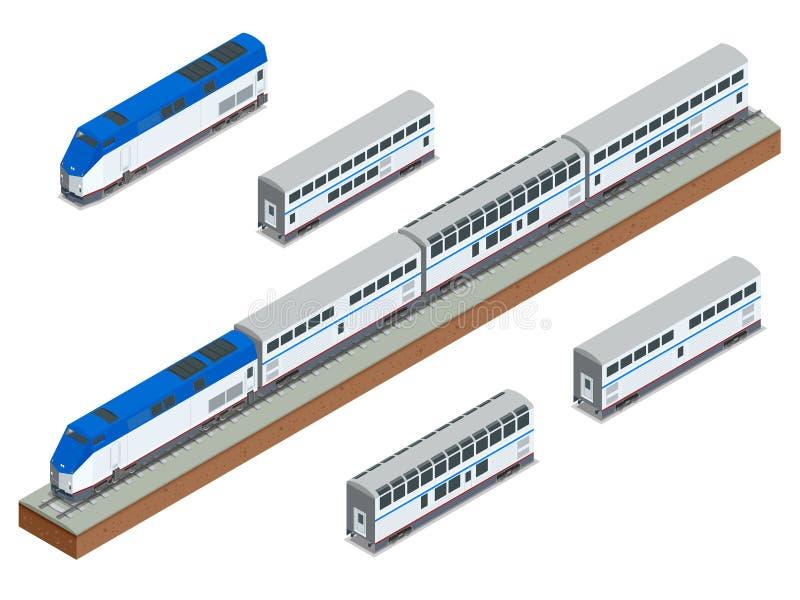 Close up interurbano de dois andares do trem de passageiros do vetor isométrico ilustração stock