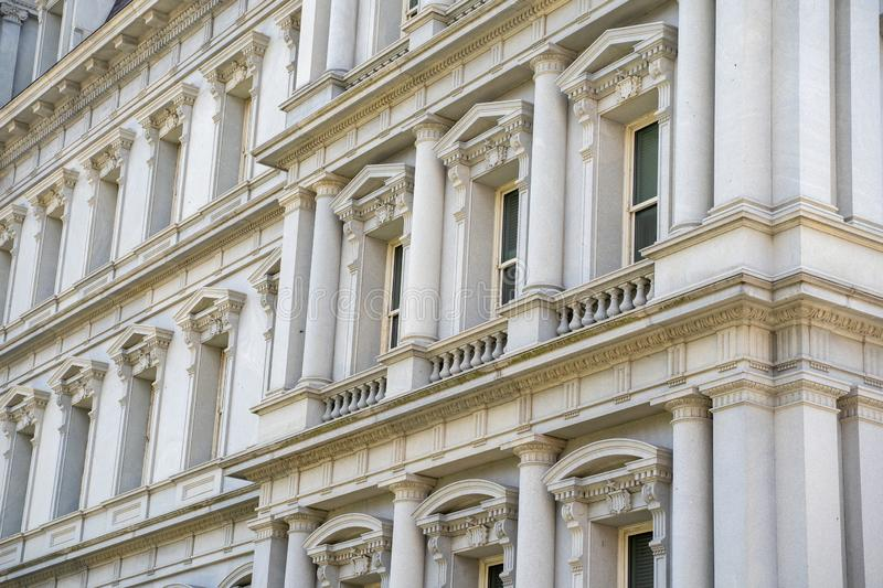 Close up of the intricate architecture and columns of the Eisenhower Executive Office Building in Washington DC royalty free stock images