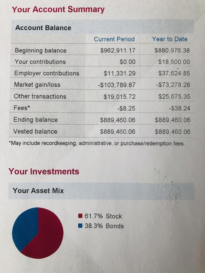 Investment Account summary statement stock photography