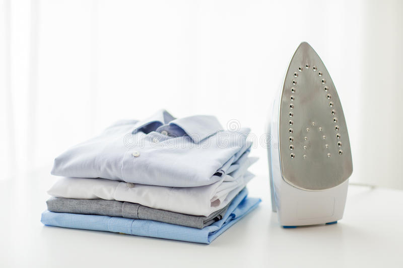 Download Close Up Of Iron And Clothes On Table At Home Stock Image   Image  Of