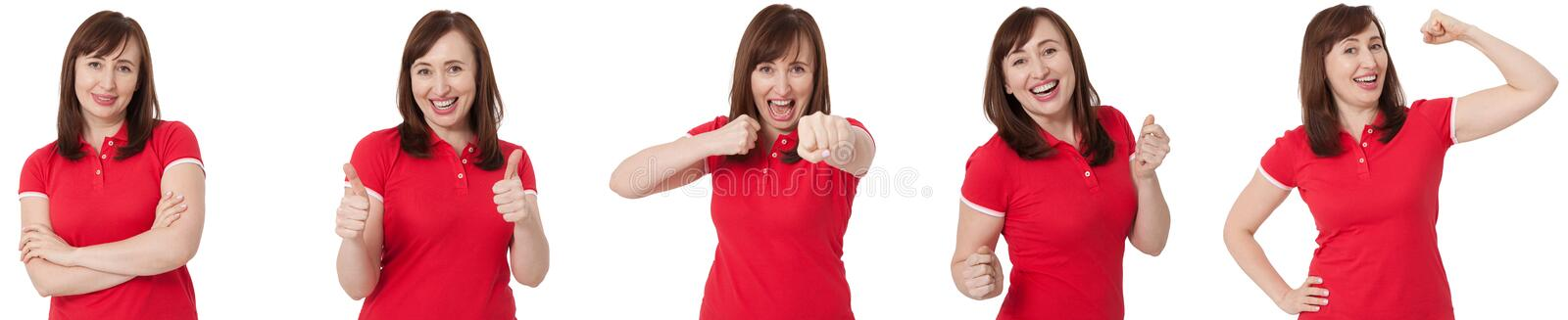 Close up isolated collage portrait of different female emotions and annoyed angry woman. Red blank t shirt and brunette hair front stock photos