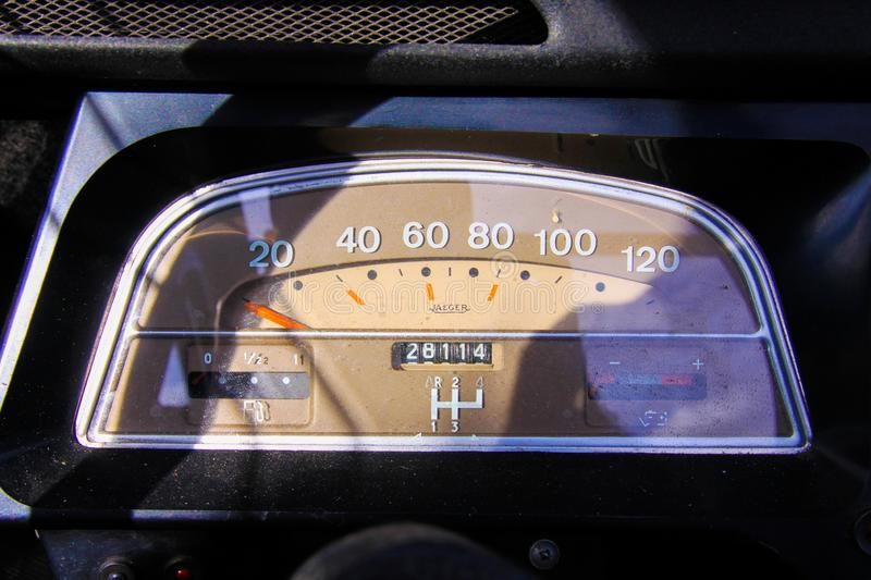 Close up of isolated old dusty tachometer inside classic French cult car 2CV stock photos