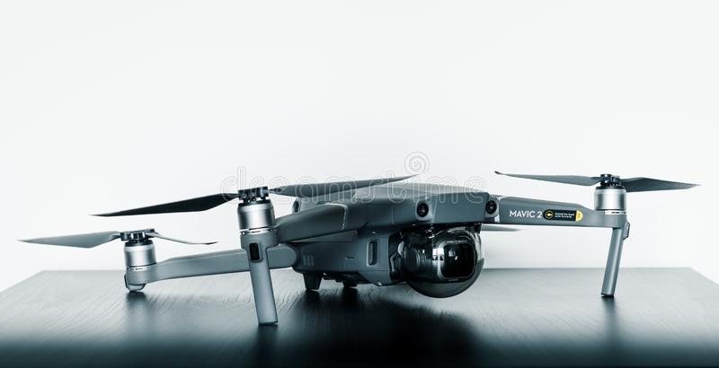 Close up isolated shot of the new consumer Mavic 2 Pro drone from DJI against a bright white background stock photography