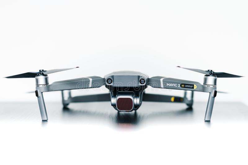 Close up isolated shot of the new consumer Mavic 2 Pro drone from DJI against a bright white background stock photo
