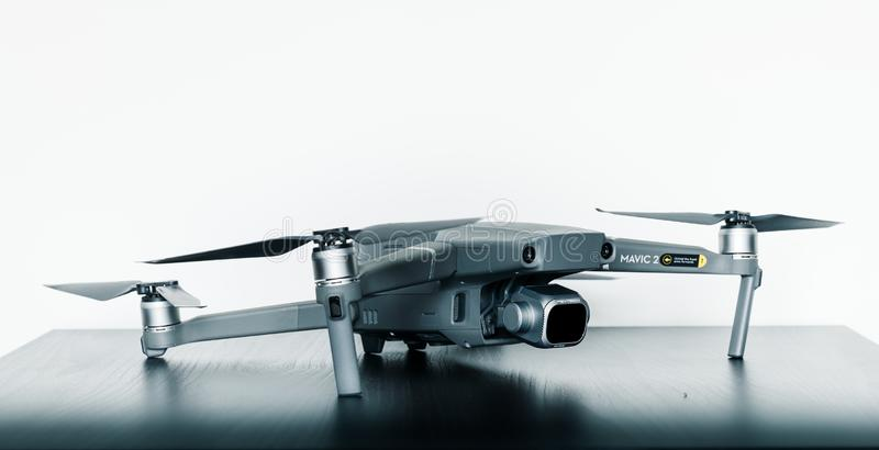 Close up isolated shot of the new consumer Mavic 2 Pro drone from DJI against a bright white background royalty free stock images