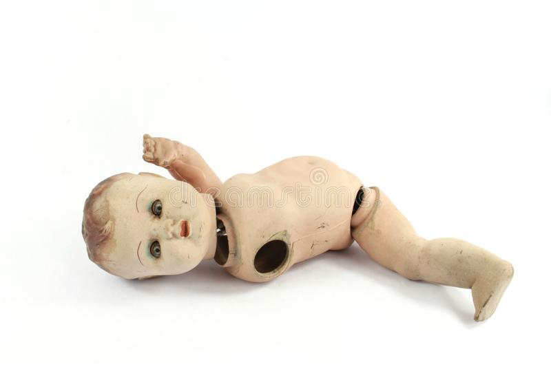 Close Up and Isolated Vintage Antique Old Doll stock images