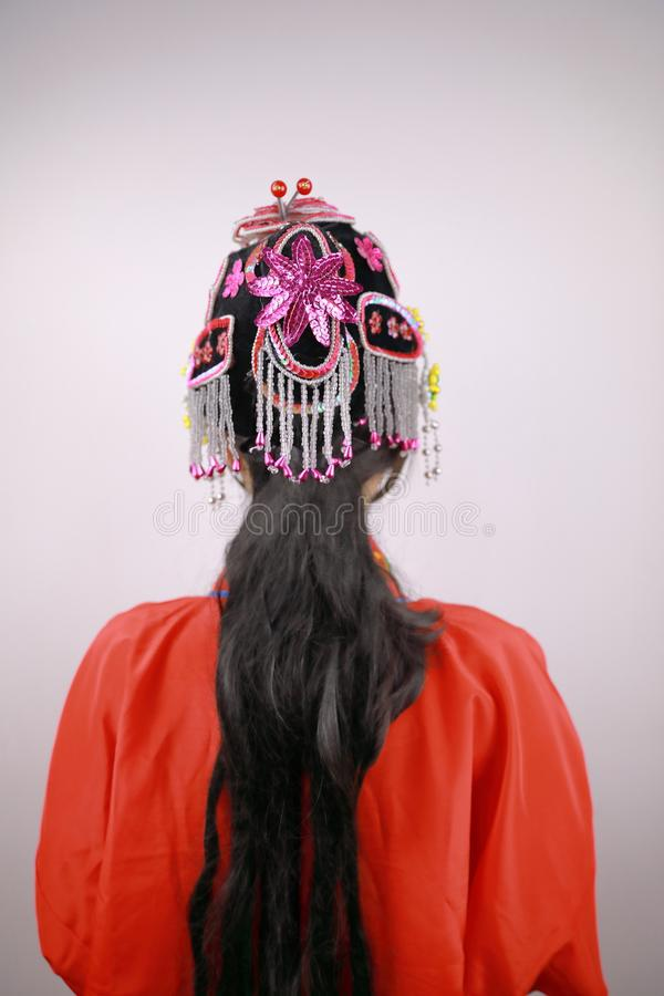 Close-up isolated white background Beijing opera Chinese female actress woman makeup traditional headwear costume drama portrait stock image