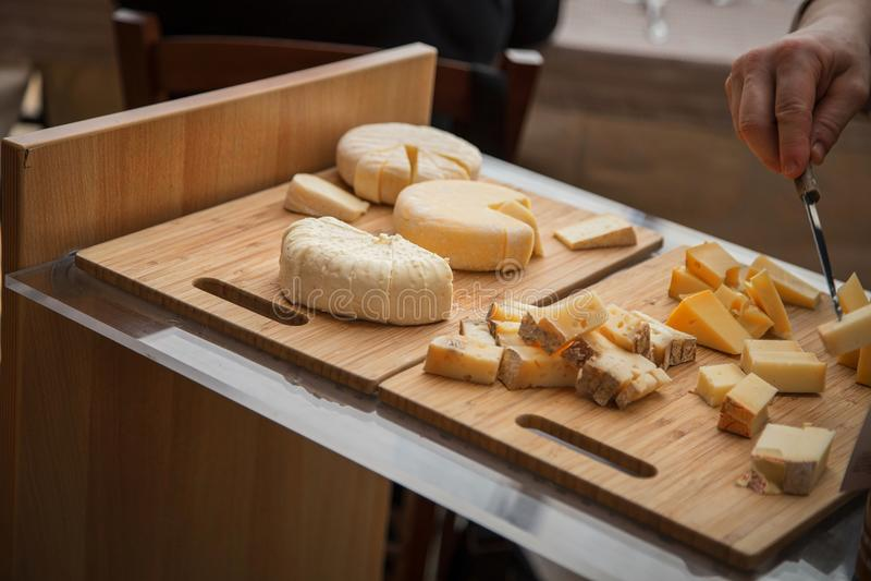 Close up of italian cheese platter royalty free stock photo