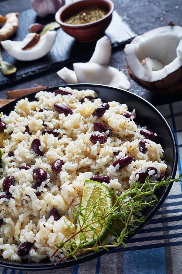 Spicy Caribbean Rice and Red Beans, close-up stock images