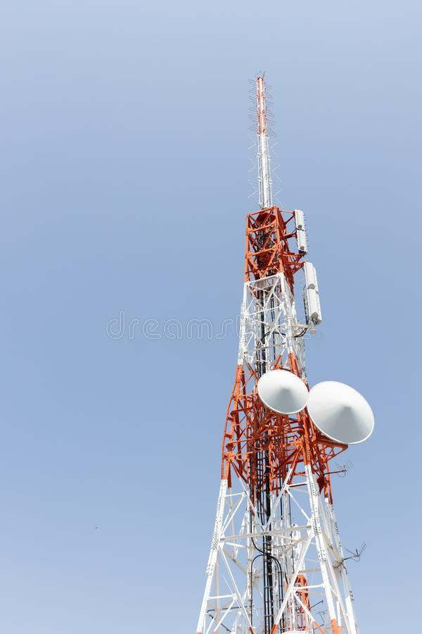 Closeup of a Japan radio telecommunication antenna tower. Close up of a Japan radio telecommunication antenna tower royalty free stock image