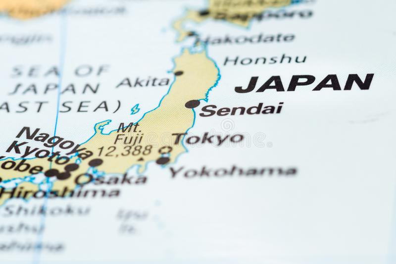 Japan on a map. Close up of Japan on a world map as a concept stock image