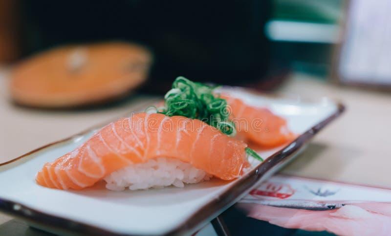 Close up japanese with sushi sashimi on desk.  stock photo
