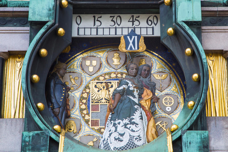 Close up Jugendstil Ankeruhr Vienna Clock at Hoher royalty free stock photography