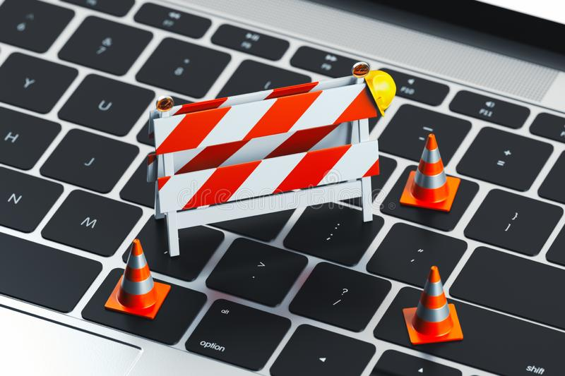 Close up of keyboard and traffic cones and under construction road sign on it. 3d rendering. Gadget service concept vector illustration