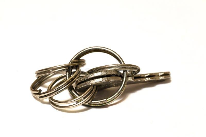 Close up of keys on white background royalty free stock photo