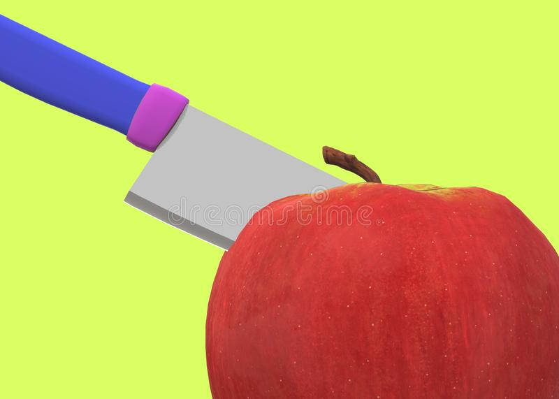Close up of a kitchen knife slicing a red apple against a luminous green backdrop stock images