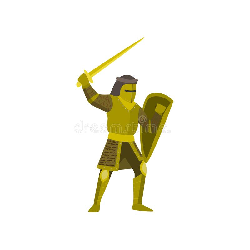 Close-up of knight stands in yellow armor, raises sword and covers body with a shield on white background royalty free illustration