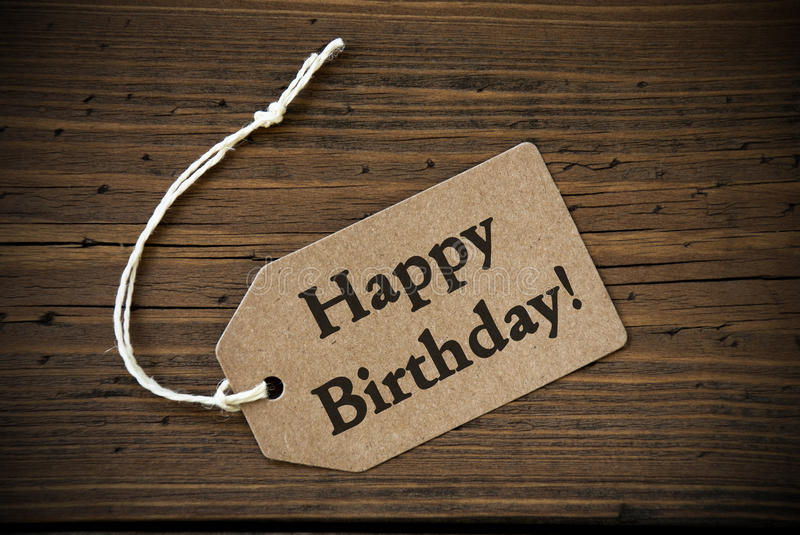 Close Up Of Label With Text Happy Birthday stock photography