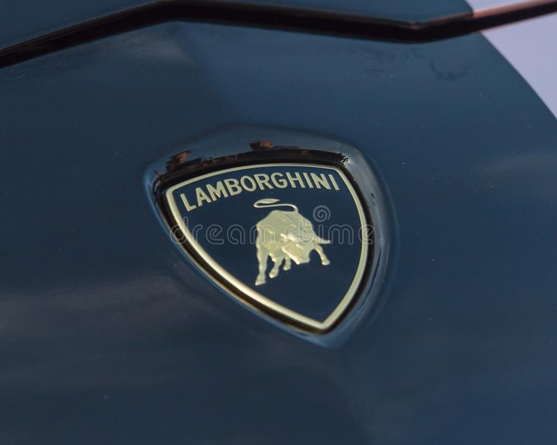 Close Up Of The Emblem Of Lamborghini Aventador Editorial Photo