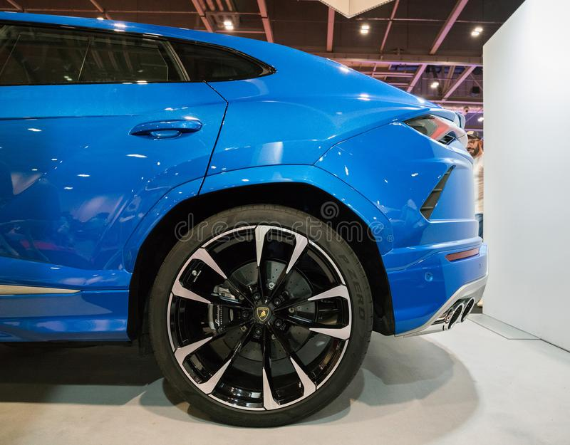 Close Up Blue Lamborghini Urus In Motor Show royalty free stock images
