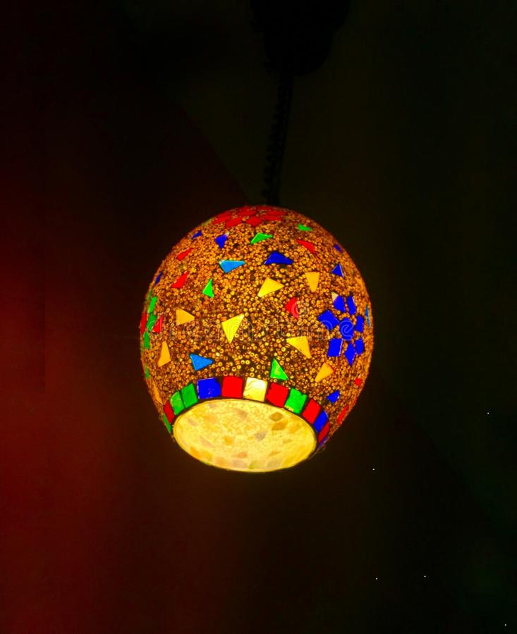 Close up Lantern. A room is incomplete without any exceptional lighting. The mystical beauty of the lantern drew my attention and forced me to capture this royalty free stock photo