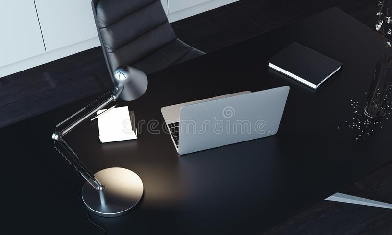 Close up of laptop, lamp and notepad on the table, 3d rendering. stock photography