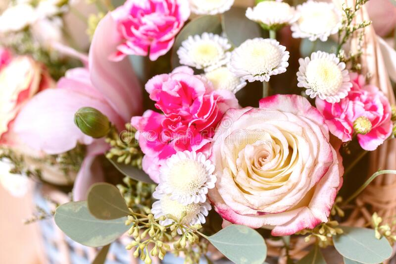 Close-up Large Beautiful bouquet of mixed flowers. Flower background, wallpaper. Floral shop concept. Flowers delivery stock photo