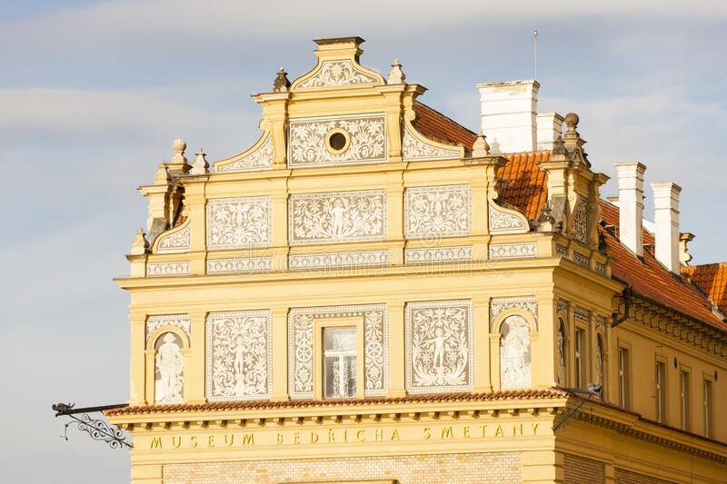 Close up of Lavka building, Prague, Czech Republic royalty free stock image