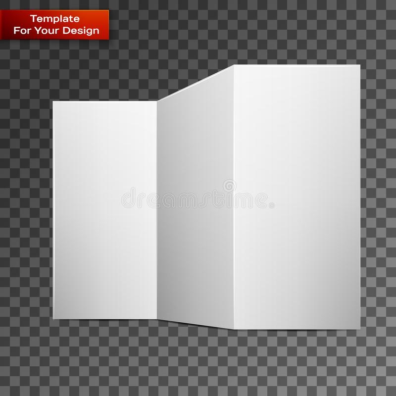 Close up of a leaflet blank white paper. On transparent background. Vector illustration, EPS 10 stock illustration