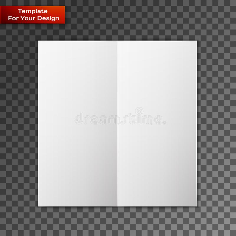 Close up of a leaflet blank white paper. On transparent background. Vector illustration, EPS 10 vector illustration