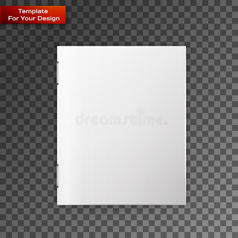 Close up of a leaflet blank white paper. On transparent background. Vector illustration, EPS 10 royalty free illustration