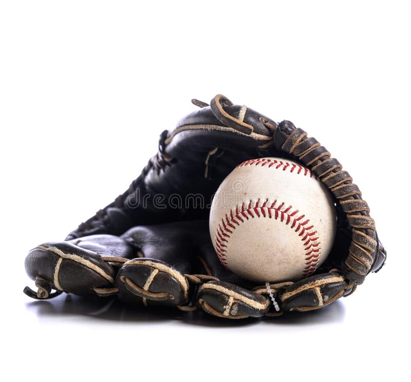 A close up of a Leather baseball glove and ball stock images