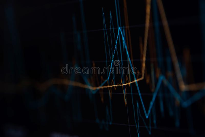 Close-up LED charts and summary info for making stock trading gr. Aph stock photos