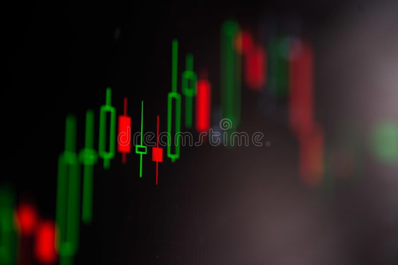 Close-up LED charts and summary info for making stock trading gr. Aph royalty free stock image
