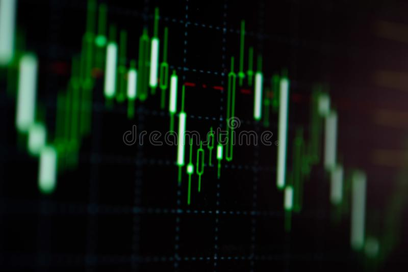 Close-up LED charts and summary info for making stock trading gr. Aph royalty free stock images