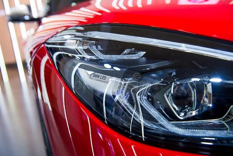 Close-up of LED headlights royalty free stock images