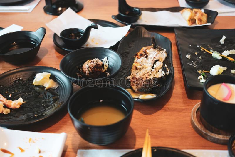 Left over japanese foods after having lunch meal royalty free stock photography