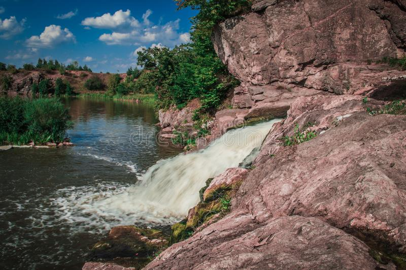 Close-up of Left side of the waterfall Vchelka royalty free stock photos