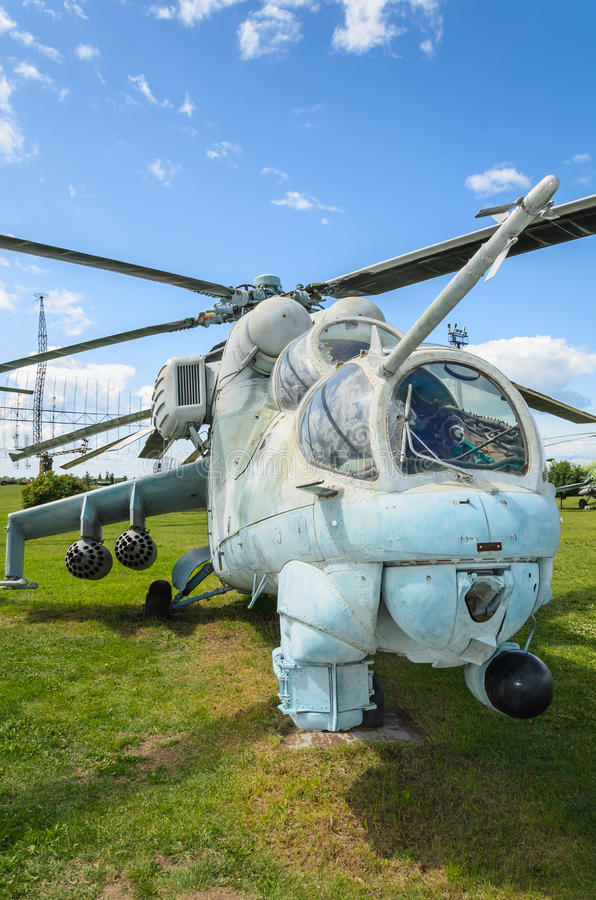 Close-up of an legendary Russian attack helicopter, Mi-24 royalty free stock images