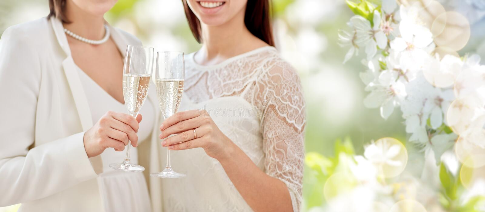 Close up of lesbian couple with champagne glasses. People, homosexuality, same-sex marriage, celebration and love concept - close up of happy married lesbian royalty free stock images