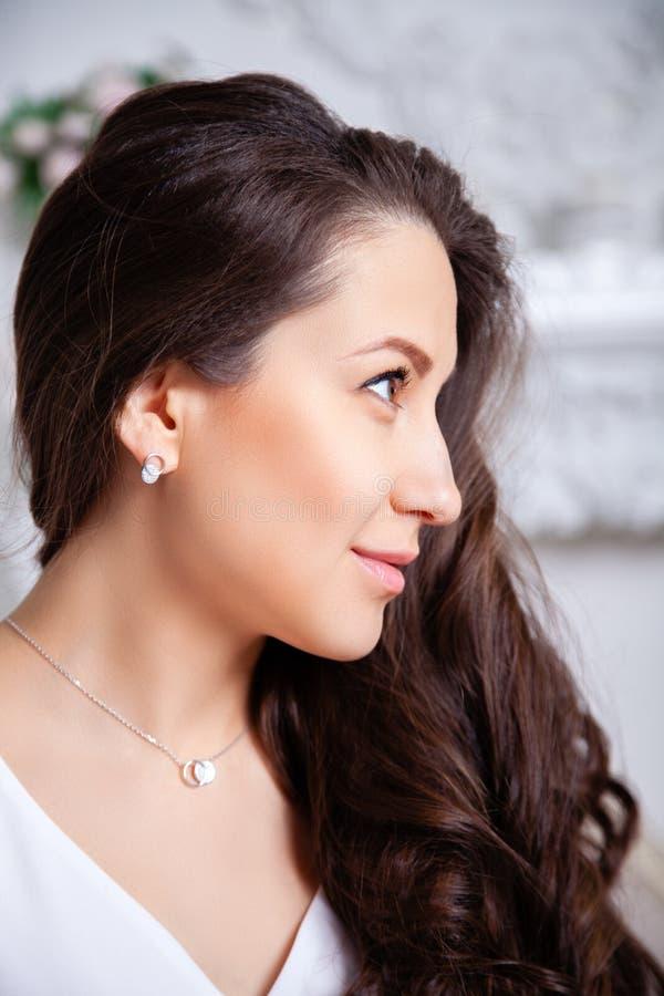 Close-up leuk mooi donkerbruin meisje met lang haar in zilveren juwelenoorringen en halsband Ð ¡ oncept van zacht, elegant, gev royalty-vrije stock foto's